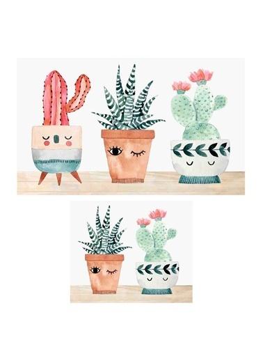 Soley Three Cactus Djt. 2 Li Banyo Paspas Seti Klozet Takımı Renkli